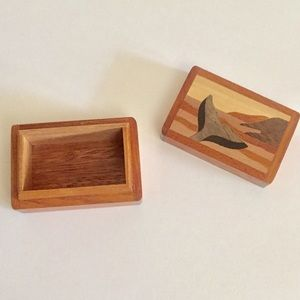 Waving Whale Tail Wooden Trinket Box